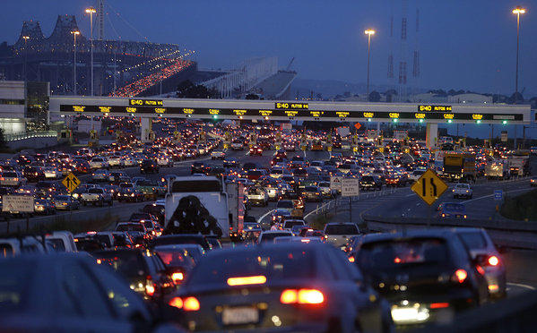 Commuters wait in standstill traffic to pay their tolls on the San Francisco-Oakland Bay Bridge in Oakland on July 1 during a recent BART strike.