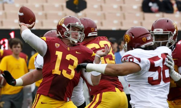 Max Wittek makes a throw during a USC's end-of-spring scrimmage at Los Angeles Memorial Coliseum.