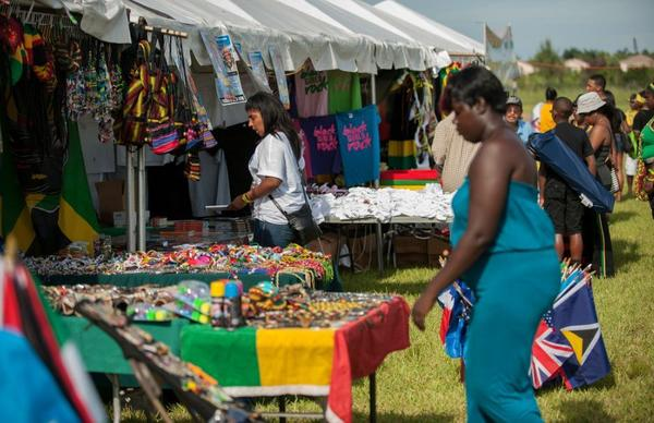 Event goers check out the Jamaican themed items for sale during the Jamaican Independence Celebration at Miramar Regional Park.