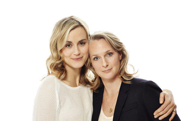 "Actress Taylor Schilling, left, poses with Piper Kerman, author of the book ""Orange Is the New Black,"" now a Netflix series."