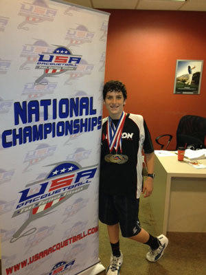Dane Elkins won three national and junior sports championships in racquetball this summer.