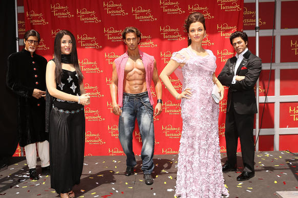 Madame Tussauds Hollywood on Thursday unveiled wax figures of five Bollywood stars: Amitabh Bachchan, left, Kareena Kapoor, Hrithik Roshan, Aishwarya Rai and Shah Rukh Khan. And in case you are wondering, the real celebrities visit Madame Tussauds to be meticulously measured before they are re-created in wax.