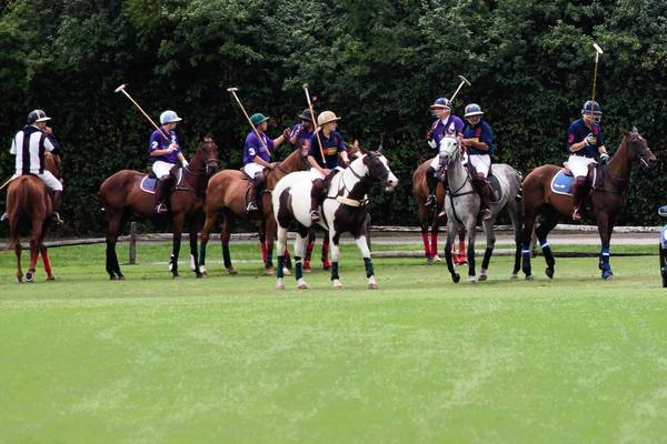 Jockeys play polo in Oak Brook on July 28.
