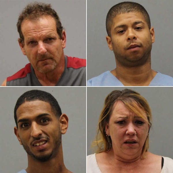 From top left clockwise: Peter Frazier, John Ortiz, Shelly Doucette and Joshua Sanchez were charged after a melee in Vernon Sunday night. A photo of Anne Armstrong was not immediately available.