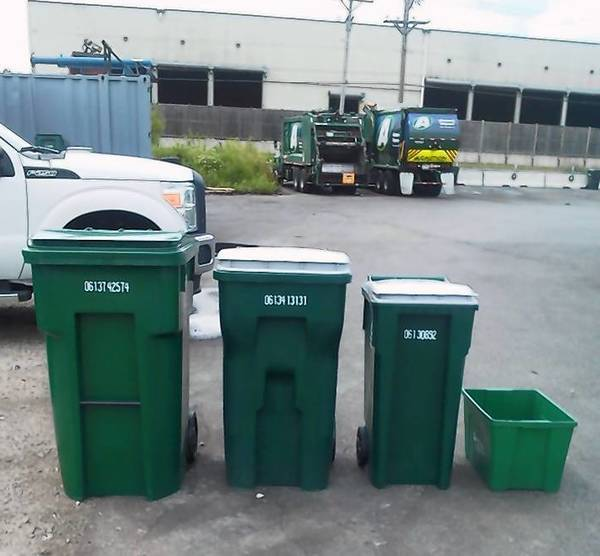 Different recycling cart sizes are shown here.