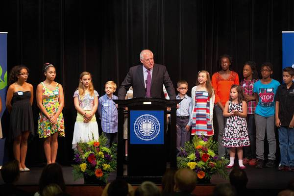 Governor Pat Quinn announces a $3.5 million capital investment to help build the John C. Dunham STEM School at Aurora University on Friday, July 26, 2013.