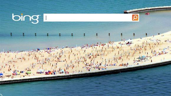 Bing's home page on Monday featured Chicago's North Avenue Beach.