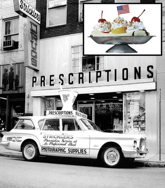 Strickler's drugstore in Latrobe, Pa., in 1955 is now defunct, but it was known for serving banana splits. The ice cream creation pictured above, served at Valley Dairy, is derived from the 1904 original that's said to have been invented in Latrobe.