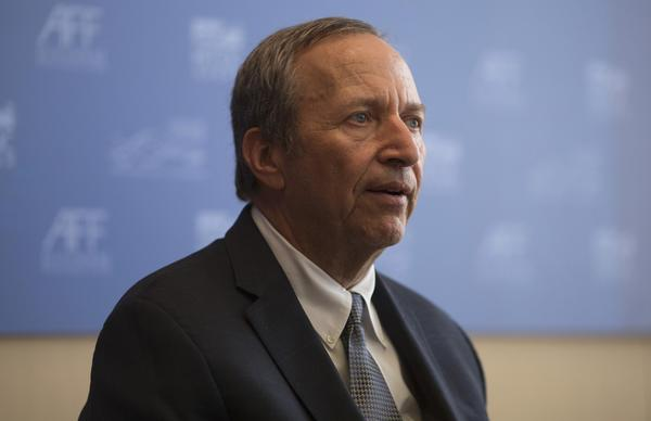 Former Treasury Secretary Lawrence H. Summers speaks during a news conference at the Asian Financial Forum in Hong Kong.