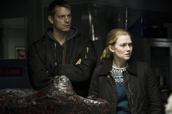 "Detectives Stephen Holder (Joel Kinnaman) and Sarah Linden (Mireille Enos) close in on the serial killer known as the Pied Piper in Part I of Sunday's two-hour Season 3 finale of AMC's ""The Killing."""