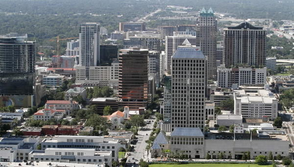 Aerial photo of downtown Orlando skyline Tuesday, July 30, 2013.