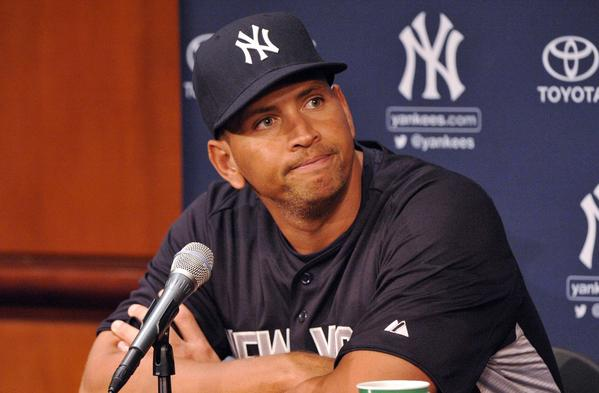 New York Yankees third baseman Alex Rodriguez at a press conference before Monday's game against the Chicago White Sox at US Cellular Field.