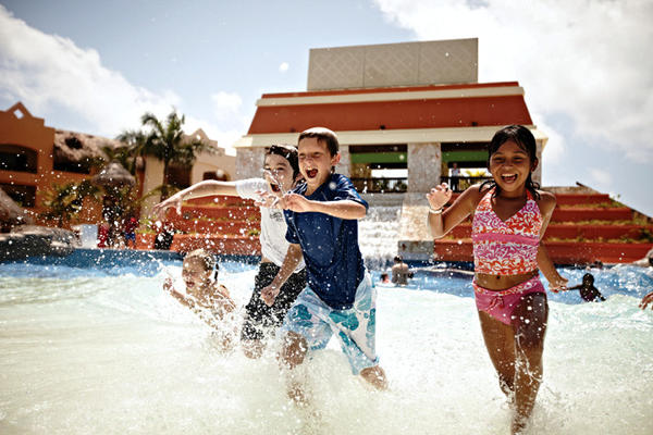 The wave pool at the Iberostar Paraiso Maya in Riviera Maya, Mexico, makes a splash with kids.