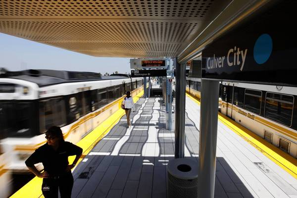 The Culver City Expo Line station, above, opened in 2012. The extension from Culver City to Santa Monica is scheduled to start operating in 2015.