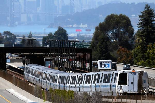 A BART train pulls away from the Rockridge station on Aug. 2 in Oakland. An estimated 400,000 people ride the transit system each day. For Bay Area commuters, the 5-day strike last month meant not being able to go to work.