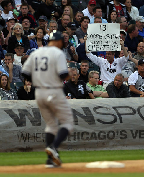 A fan has a message for New York Yankees' Alex Rodriguez.