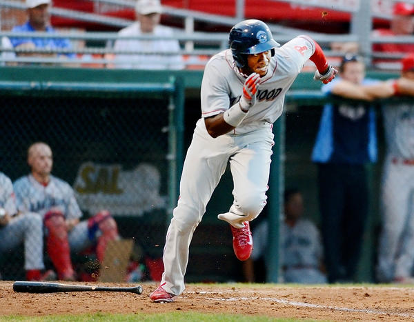Philadelphia Phillies Domonic Brown races to first base for a single duirng the fifth inning against Suns. Brown is on rehab playing with the Lakewood Blueclaws