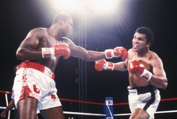Easton's Larry Holmes (left) trades punches with Muhammad Ali at Ceasars Palace in Las Vegas, Nev., on October 2, 1980. Holmes won the fight by TKO after 10 rounds.