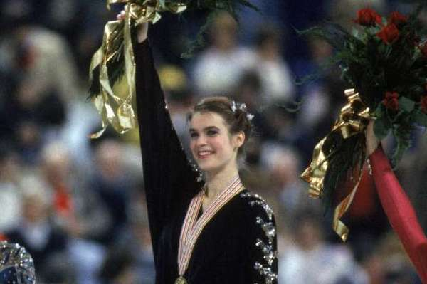 East German figure skater Katarina Witt (center) in 1987 at the World Figure Skating Championships in Cincinnati, where she won the gold medal.