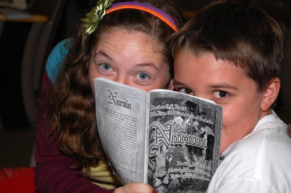 Marissa Mazzoline and Jordan Hull take time out for a pose during last year's Narnia rehearsal.