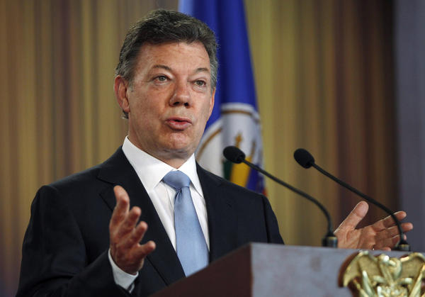 Colombian President Juan Manuel Santos speaks at a May 17 news conference in Bogota.