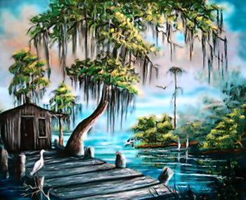 Painting by R.L. Lewis, one of famous Florida Highwaymen.