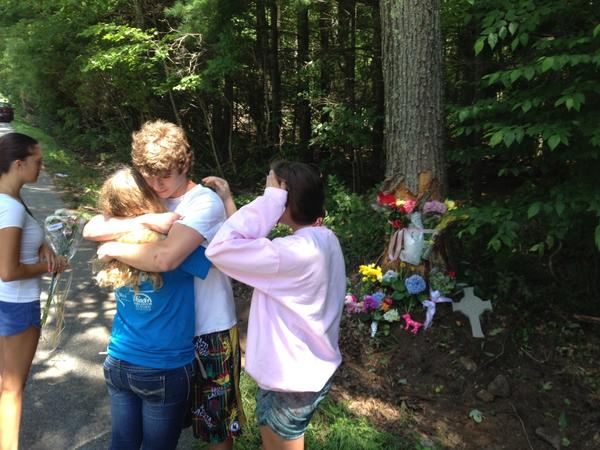 Classmates at the scene of a fatal car crash that took the life of 17-year-old Paige Houston.