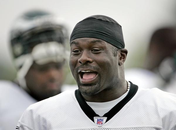 Hugh Douglas is pictured in 2005 when he played for the Philadelphia Eagles.