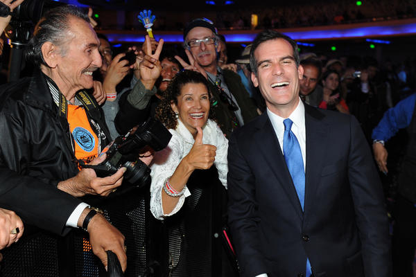 Eric Garcetti greets supporters at the Hollywood Palladium on election night back in May.