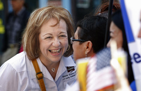 "Maria Elena Durazo, head of the L.A. County Federation of Labor, shown before this year's May Day march in downtown Los Angeles. On Tuesday, Durazo said, ""There will be consequences"" if the House refuses to take up the immigration bill passed by the Senate."