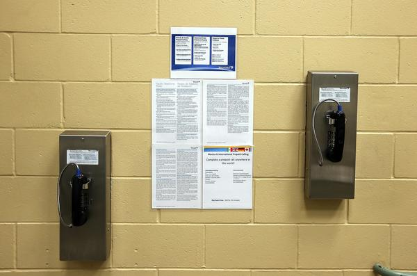Pay phones for inmates on a wall at the Fremont Police Detention Facility in Fremont, California.