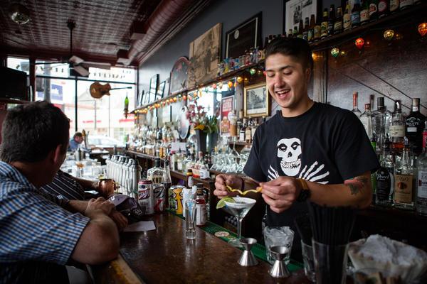 A bartender prepares a margarita at The Matchbox.