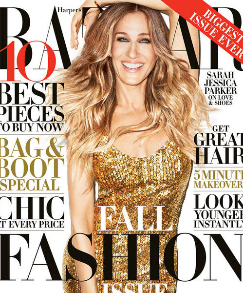 Actress and fashion icon Sarah Jessica Parker on the carver of Harper's Bazaar's September 2013 issue.