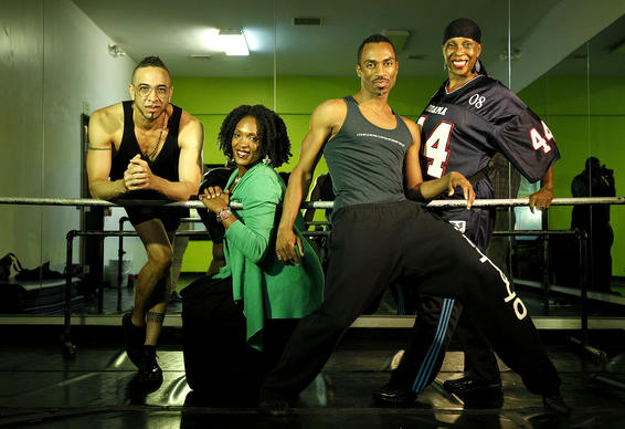 From left, Dwight Rhoden of Complexions Contemporary Ballet, Tamica Washington-Miller of Lula Washington Dance Theatre, Desmond Richardson of Complexions Contemporary Ballet, and Lula Washington of Lula Washington Dance Theatre together at Lula Washington's studio in Los Angeles. Complexions and Lula Washington Dance Theatre are presenting an evening of dance as part of the Ford Amphitheatre's Inaugural Zev Yaroslavsky Signature Series.