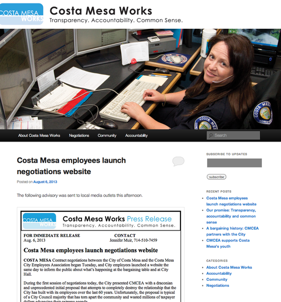 A screenshot of the new Costa Mesa Works website.