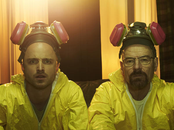 "Jesse Pinkman (Aaron Paul) and Walter White (Bryan Cranston) in Season 5 of ""Breaking Bad."""