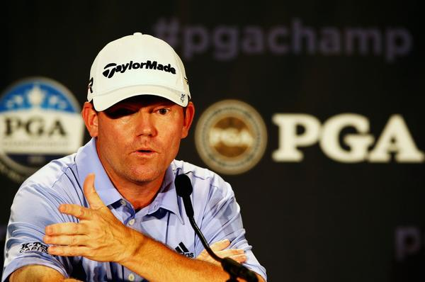 Shaun Micheel is interviewed during a news conference prior to the start of the 95th PGA Championship at Oak Hill Country Club in Rochester, New York.