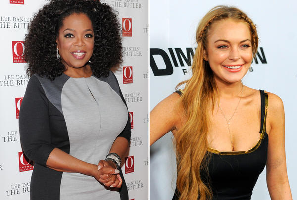 Oprah Winfrey said she's proud of Lindsay Lohan's progress. The former talk show host will air her interview with the 27-year-old starlet on Aug. 18.