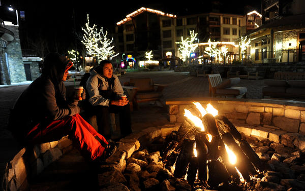 The Village on a winter night in Mammoth Lakes.