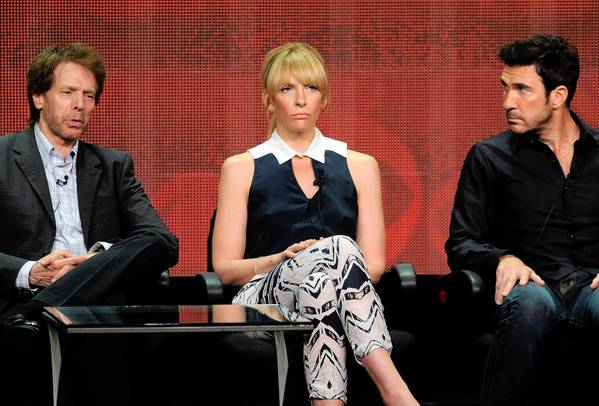"Producer Jerry Bruckheimer, left, and actors Toni Collette and Dylan McDermott participate in the ""Hostages"" panel at the TCA press tour."