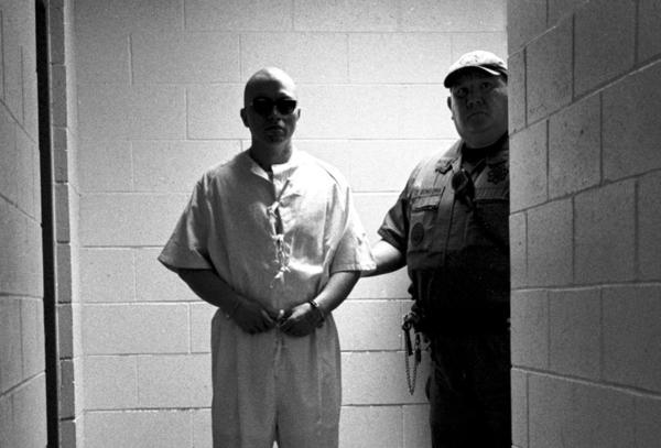 Pelican Bay State Prison inmate Javier Zubiate is seen standing in a secure holding area after being led away from the Secure Housing Unit (SHU).