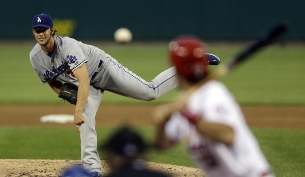 Dodgers starter Clayton Kershaw delivers a pitch during Tuesday's 5-1 loss to the St. Louis Cardinals.