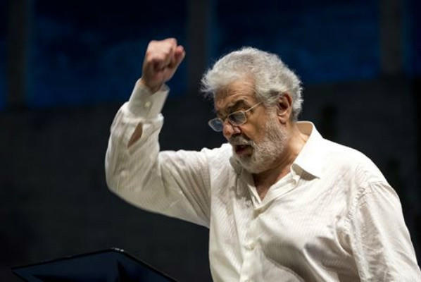 "Placido Domingo during a recent rehearsal for ""Giovanna d'Arco"" at the Salzburg Festival in Austria."