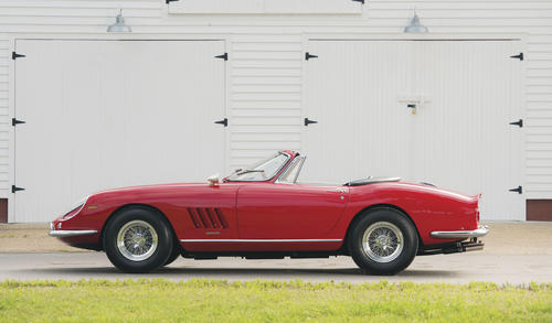 This rare 1967 Ferrari 275 GTB/4*S N.A.R.T. Spider is one of only ten made, and has been owned by the Smith family since it was new. The family is auctioning it off at RM Auction's Pebble Beach sale. The pre-sale estimate is between $14 million and $17 million. The family will donate all proceeds to charity.