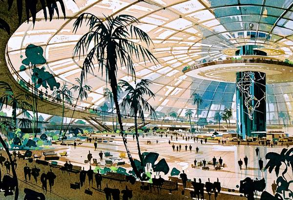 "This glass-enclosed terminal at LAX -- with a world map etched onto a central column -- was proposed in 1952. This rendering is from the ""Never Built Los Angeles"" companion book."