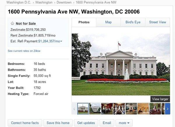 Zillow's $319-million listing for the White House says the opulent residence has 16 bedrooms and 55,000 square feet of living space -- and a bunker in the basement.