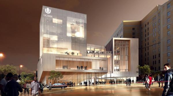 Propuesto recinto de la Universidad de Connecticut en la esquina de las calles Main y Talcott en el centro de Hartford.