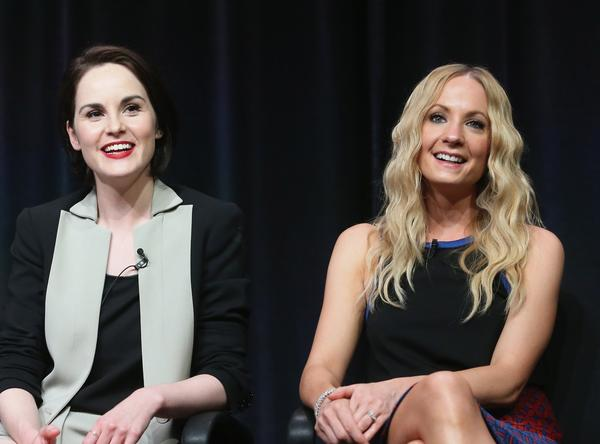 "Actors Michelle Dockery, left, and Joanne Froggatt speak onstage during the ""Downton Abbey"" TCA panel."