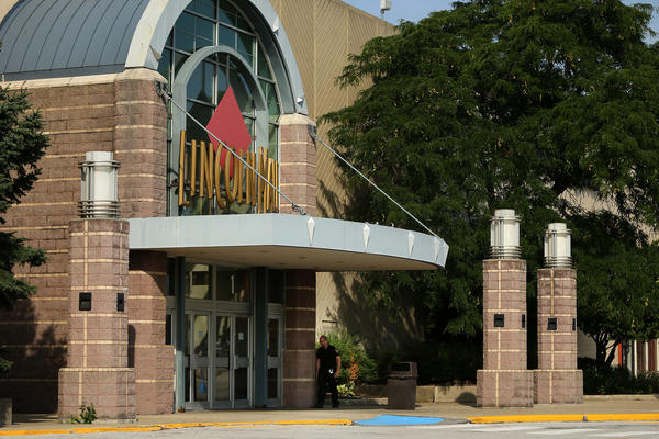 A security officer patrols the Lincoln Mall in Matteson on Wednesday morning.