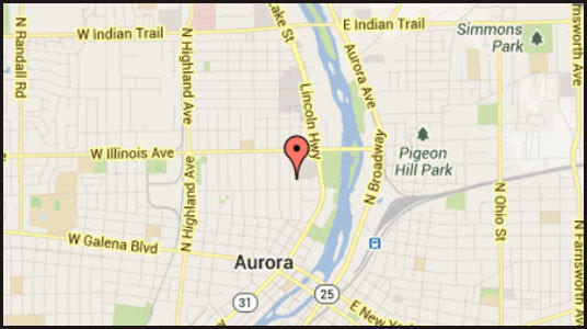 Map of location near where a man's body was pulled from the Fox River in west suburban Aurora.